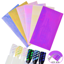6 Sheets/set Holo 3D Nail Sticker Adhesive Ultra Thin Laser Line Tape Candy Color Nail Foil Decal Manicure Decorations(China)