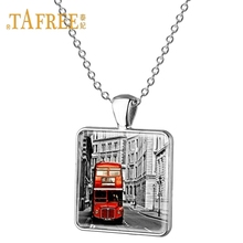 TAFREE Luxury car Sign necklace London United Kingdom Red double decker bus car armored car pendant Men's necklace jewelry AA02(China)