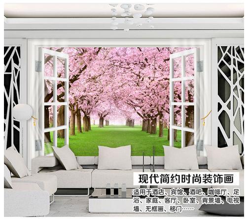 Custom 3d wallpaper Non-woven Cherry blossom window 3 d TV setting wall wallpaper<br><br>Aliexpress