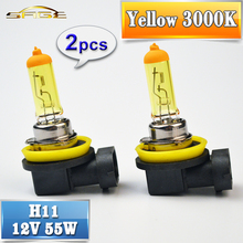 flytop H11 Yellow Halogen Bulb 12V 55W 2 Pieces PGJ19-2 3000K Auto Lamp Quartz Glass Car Fog Light(China)