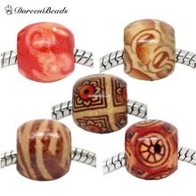 DoreenBeads 2016 Hot New 100PCs Mixed Round Wood Beads Fit European Charms Drum Pattern With Ancient Painting 12x11mm Hole:4.8mm