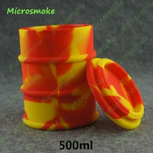 100(D)* 130(H)mm 500ml Silicone container wax silicone oil barrel container jars dab wax vaporizer oil rubber drum 2 pieces/set