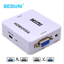Full 1080P HDMI to VGA Converter With Audio HDMI2VGA Adapter Connector For PC Laptop to HDTV Projector HDMI 2 VGA Converter(China)