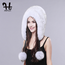 FURTALK Whole set of fox fur skin Natural fox fur hat for women fur trapper hat brand new fashion headgear hat