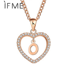 Buy IF ME Romantic Letter Name O Gold Silver Color Cubic Zirconia Love Heart Crystal Pendant Women Charms Chain Necklace Collier for $1.49 in AliExpress store