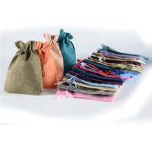 10pcs Burlap Candy Gift Bag Drawstring Packing bags Jewelry Organizer Christmas diy Wedding Party favor Travel storage Pouches(China)