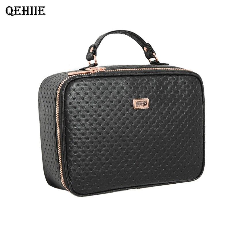 High quality PU cosmetic case waterproof beautician travel Organizer Storage Box Cosmetic Bag Men Women Black Premium Makeup Bag<br>