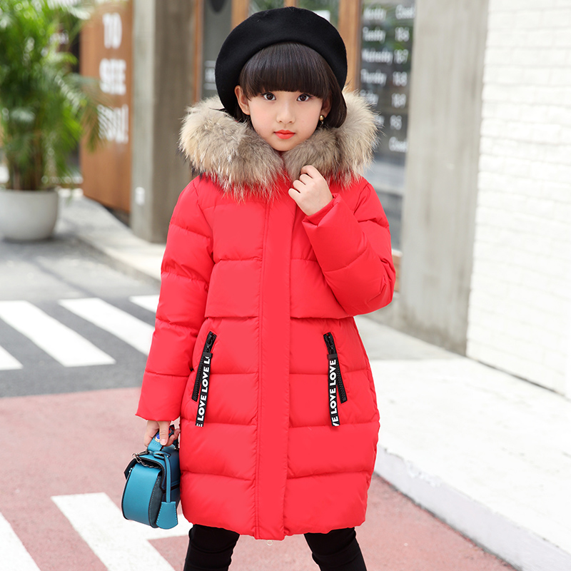 2018 Childrens Down Jacket Girls Coat  Winter Long Warm Down Jacket Girl New Hooded Down &amp; Parkas Hot Selling Fit 4-13year<br>