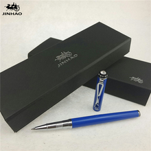 1pc/lot Jinhao Roller Ball Pen 301 Blue Pen Silver Clip With Rhinestone Material Escolar Caneta Kawaii Pens 14*1cm(China)