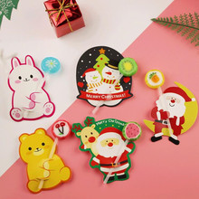 2018 Cartoon Lollipop Paper Card Christmas Santa Deer Candy Decorative Cards Holder Birthday Party Favor Decor New Year(China)