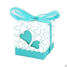 50pcs Love Heart Candy Boxes Wedding Favor Party Gift Boxes Tiffany Blue With Ribbons(China)