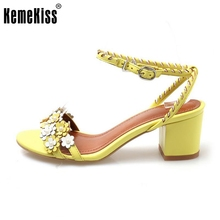 KemeKiss Size 33-42 Office Ladies Real Leather High Heel Sandals Flower Shoes Ankel Strap Club Party Sandal Female Footwears