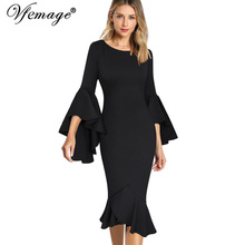 Vfemage Women Elegant Long Flare Bell Sleeve Vintage Pinup Formal Party Cocktail Bodycon Mermaid Midi Mid-Calf Sheath Dress 9007(China)