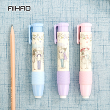 AIHAO 1PC Automatic Pen Type Eraser Kawaii Creative Stationery Students Pen Shape Eraser Cute Style Rubber Novelty Gift(China)