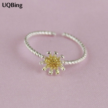 New Arrivals 925 Sterling Silver Rings Silver Sunflower Ring Open Rings For Girl Women Gift Jewelry