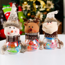 Hot Christmas Decorations Cute Santa Claus Elk Snowman Candy Jars Container Christmas Ornaments Kids Gifts(China)