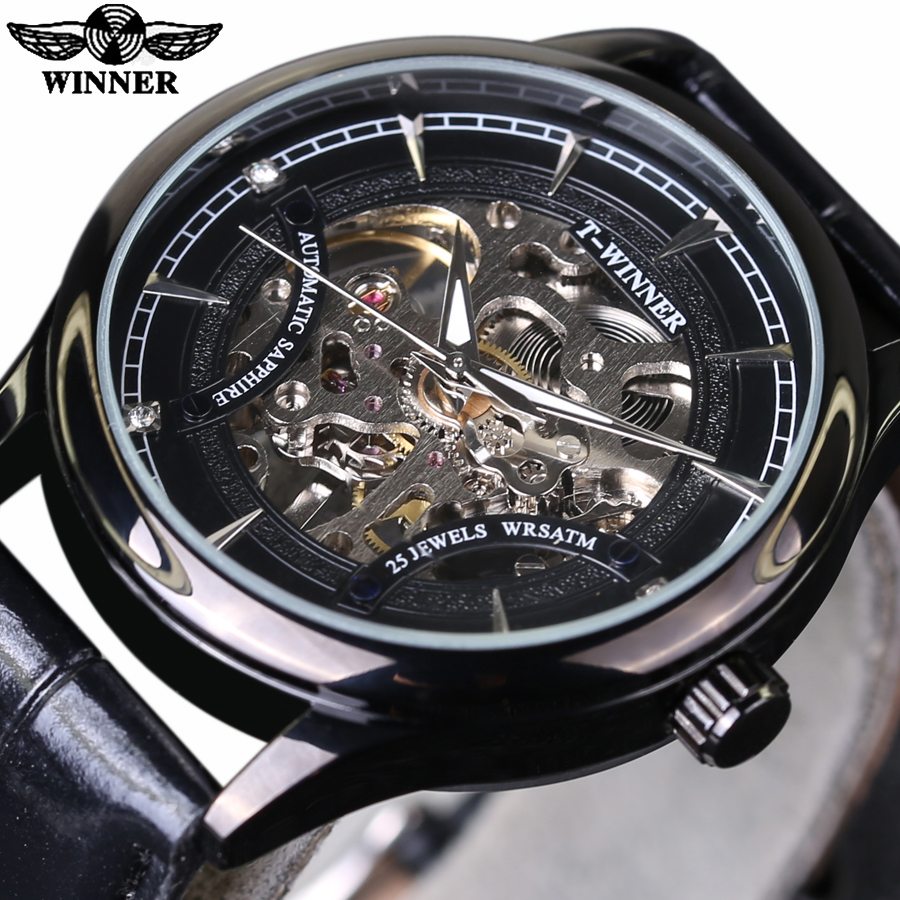 2017 New Hand Wind Skeleton Mens Watches Vintage Dress Reloj Luxury Black Dial Leather Band Mechanical Watch Sports Clock<br><br>Aliexpress
