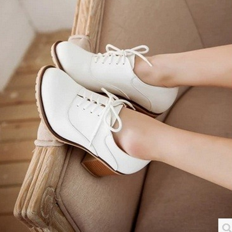Lady big size11 12soft leather retro Lace-up fashion Ankle low cutter high heels boot Safety boots women thin shoes school girls<br><br>Aliexpress
