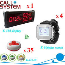 Electronic cafe call button system for catering industry 35 customer button with 4 waiter wrist watch and 1 monitor