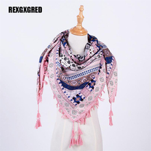 Hot Sale New Fashion Woman Scarf Square Scarves Tassel Printed Women Wraps Winter Autumn Ladies Shawls(China)