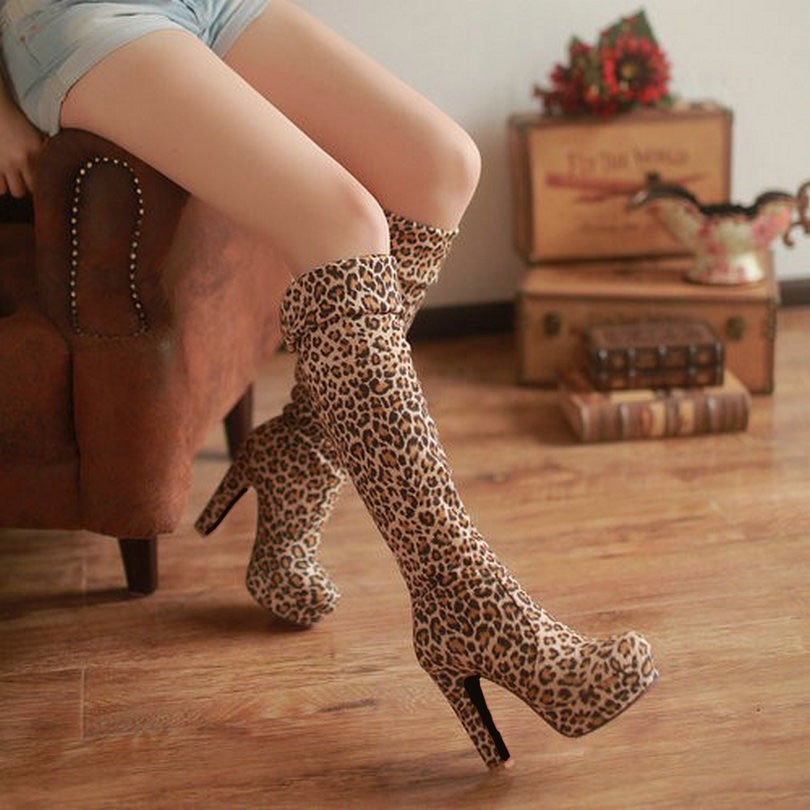 New Women's Boots, Sexy Fashion Over the Knee Boots, Sexy Thin Square Heel, Boot Platform Woman Shoes 37