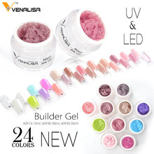 #60915 Venalisa brand 15ml nail art transparent clear, white ,pink, natural camouflage color hard jelly builder nail extend gels(China)