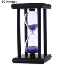 Stylish Ornament 30 Minute Sand Hourglass Countdown Timing Modern Wooden Sandglass Sand Clock Timer Home Decoration Wooden Frame