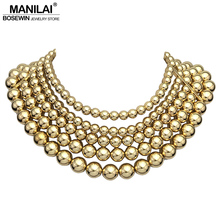 MANILAI Fashion 5 Layered Golden Beaded Chokers Necklaces For Women Statement Jewelry Collar Chunky Choker Maxi Necklace Boho(China)