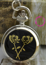 wholesale price good quality silver gold black rose flower sketch drawing pocket watch necklace hour clock chain antibrittle(China)