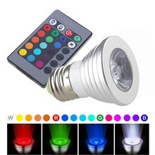 6pcs 3W E27 E26 GU10 GU5.3 B22 MR16 RGB LED Bulb 16 Color LED Spotlight with IR Remote Controller AC110 220V Spot LED Lamp(China)