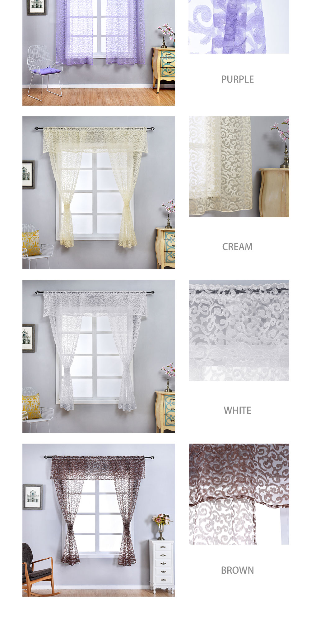 AOL-Smt293 NAPEARL Classic Floral Kitchen Rod Pocket Curtains Window Valance and Tiers Sheer Short Drapes Jacquard Tulle Bay Window Voile (2)
