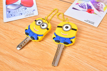Despicable me 3 minions Key cover, novelty items cute silicone key cover, Key Caps Keys Keychain 2pcs/lot free shipping