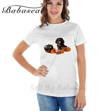 Babaseal Image Of Dog Sitting Next To Halloween Decorations Summer Casual Tees Rock Kpop T Shirt Rainbow Tshirt Women