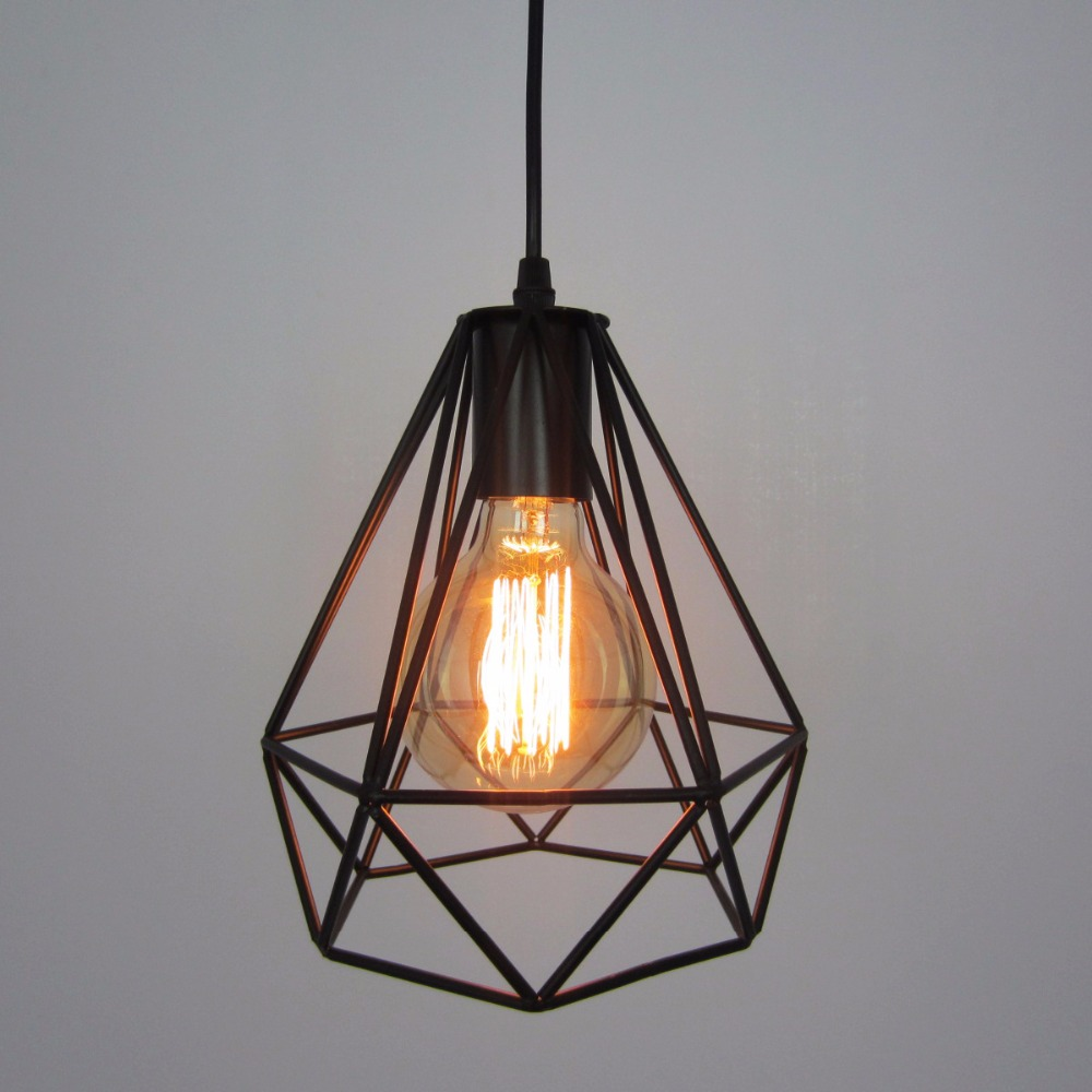 Modern black birdcage E27 pendant lights iron minimalist retro light loft pyramid lamps metal cage with led bulbs<br>