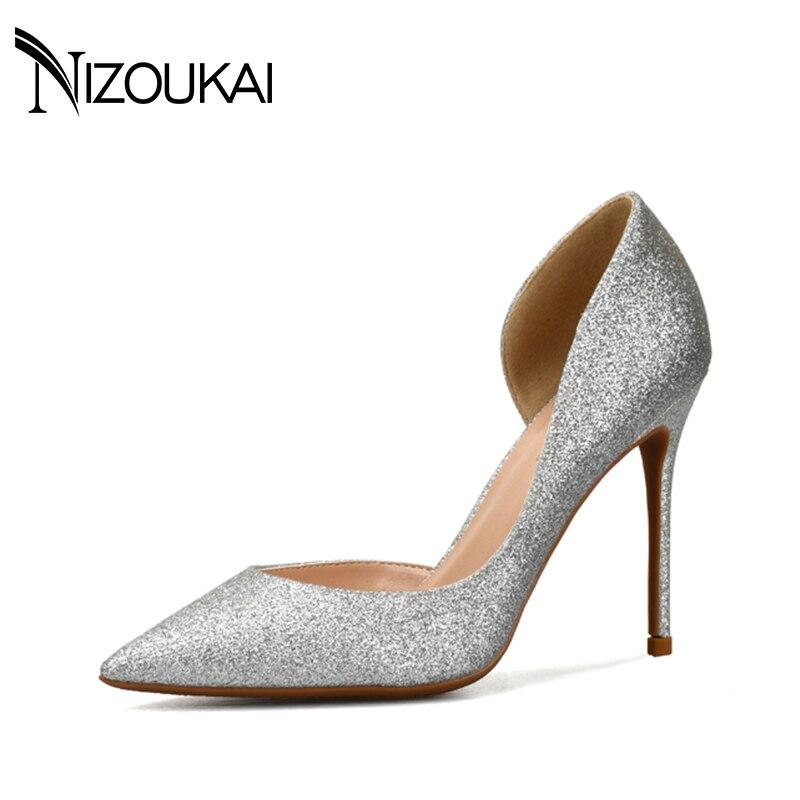 Women Pumps High Heels Women Pumps Glitter High Heel Shoes Woman Sexy Wedding Party Shoes Gold Silver Black Pumps Size 44 d02-g<br>