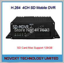 Free Shipping 4CH 4-Channel H.264 Mobile Vehicle DVR SD Card Storage Car Digital Video Recorder Audio Video Bus Driving Recorder