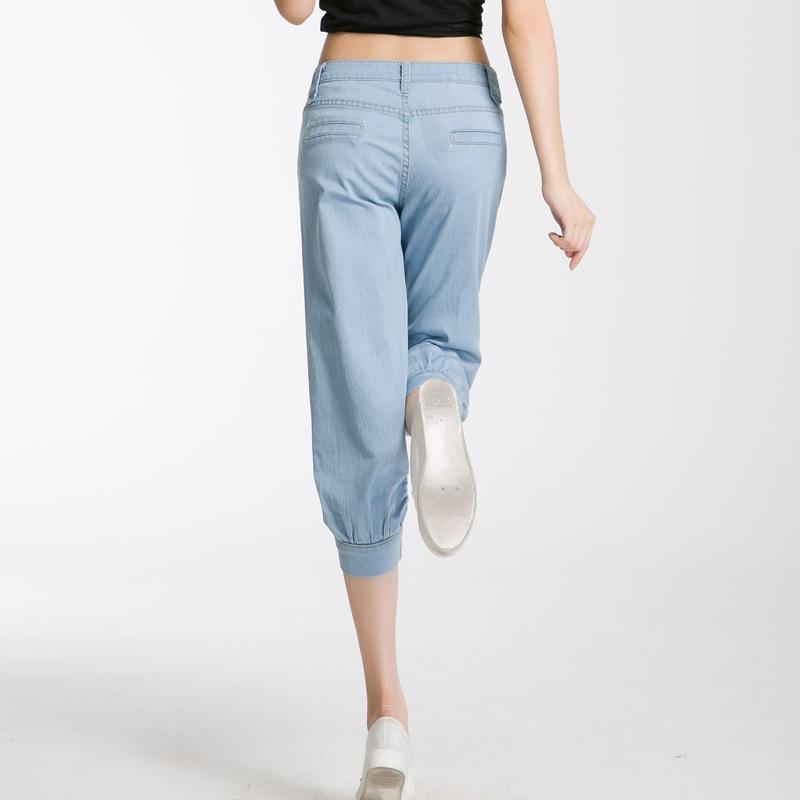 Summer Women Mid-waisted Loose Harem Pants Jeans No Deformation Trousers Soft Denim Pant Capris Jean For Woman BloomersÎäåæäà è àêñåññóàðû<br><br>