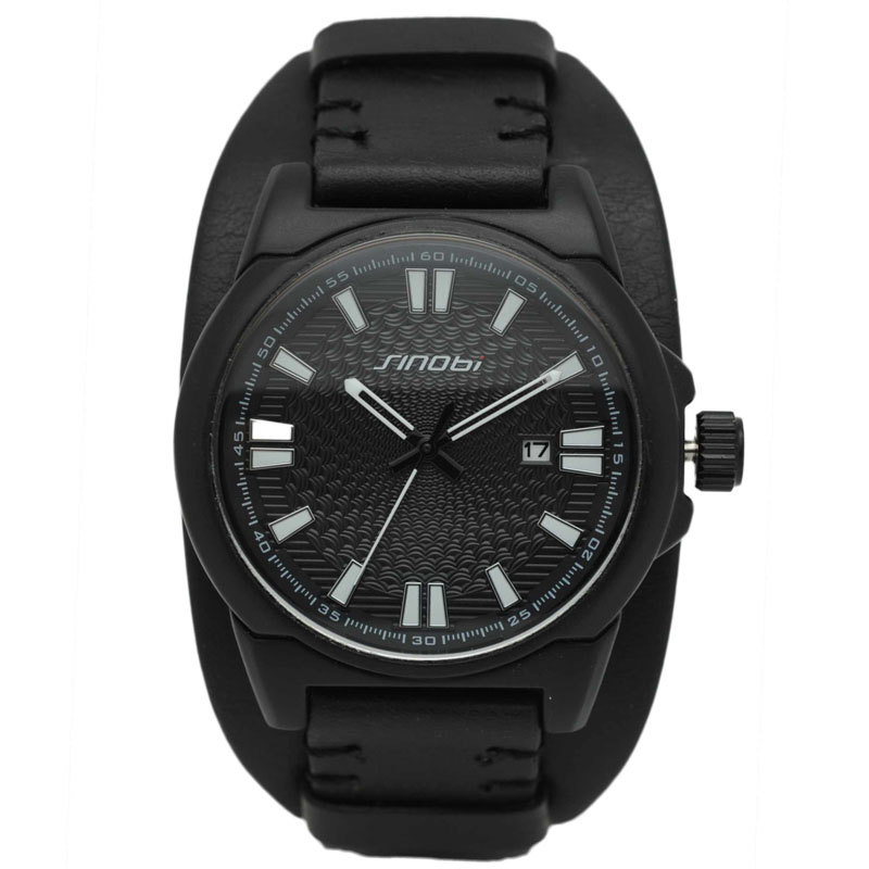 Hot sale SINOBI Men Sports  Genuine Leather Watches Business And Casual Quartz Wristwatch With Auto Date New 2017  Relogio<br><br>Aliexpress