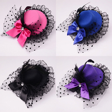 Lady Mini Top Hat Cap Bowknot Decor Lace Fascinator Hair Clip Costume Accessory