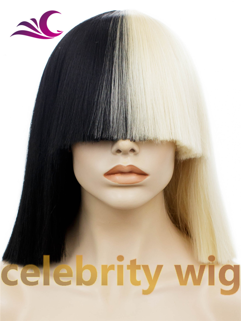 Cosplay &amp; drag queen Straight Synthetic No Lace Wig Two tone color white and black 16 hair celebrity wig for gift<br><br>Aliexpress