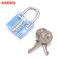 NAIERDI Colorful Transparent Visible Pick Cutaway Mini Practice View Padlock Lock Training Skill For Locksmith Hardware With Box