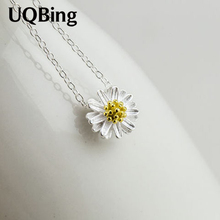 Free Shipping 925 Sterling Silver Pendants&Necklaces Daisy Necklace Jewelry Collar Colar de Plata(China)