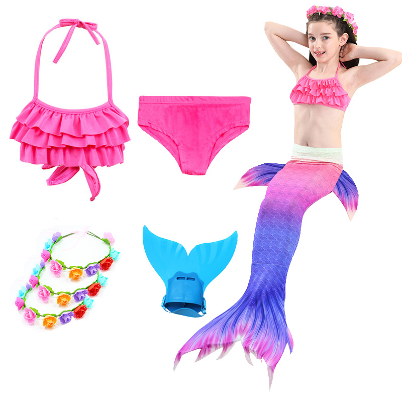 Women Kid Girl Mermaid Tail With Monofin Swimming Costumes Swimmable Flipper  jb