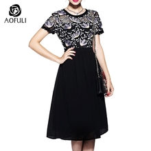 S-5XL Women Flowers Embroidered Dresses Hollow Out Lace Dress Short Sleeve High Waist Calf-Length 2017 Big Size Clothes 5558(China)