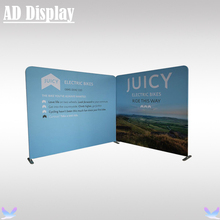 10ft And 8ft Width Size Straight Shape Tension Fabric Backdrop Pop Up Wall Exhibition Display Stand With One Side Printed Banner
