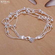 Wholesale Fashion jewelry 925 Stamp men silver plated bracelets Five lines light grape beads small ball women bracelet diy