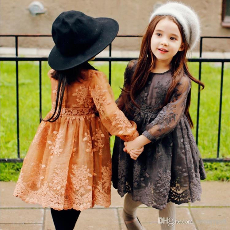 2017 New Cute Kids Girls Lace Embroidery Dress Tutu Princess Party Dress Orange and Gray Color Christmas Dress<br><br>Aliexpress