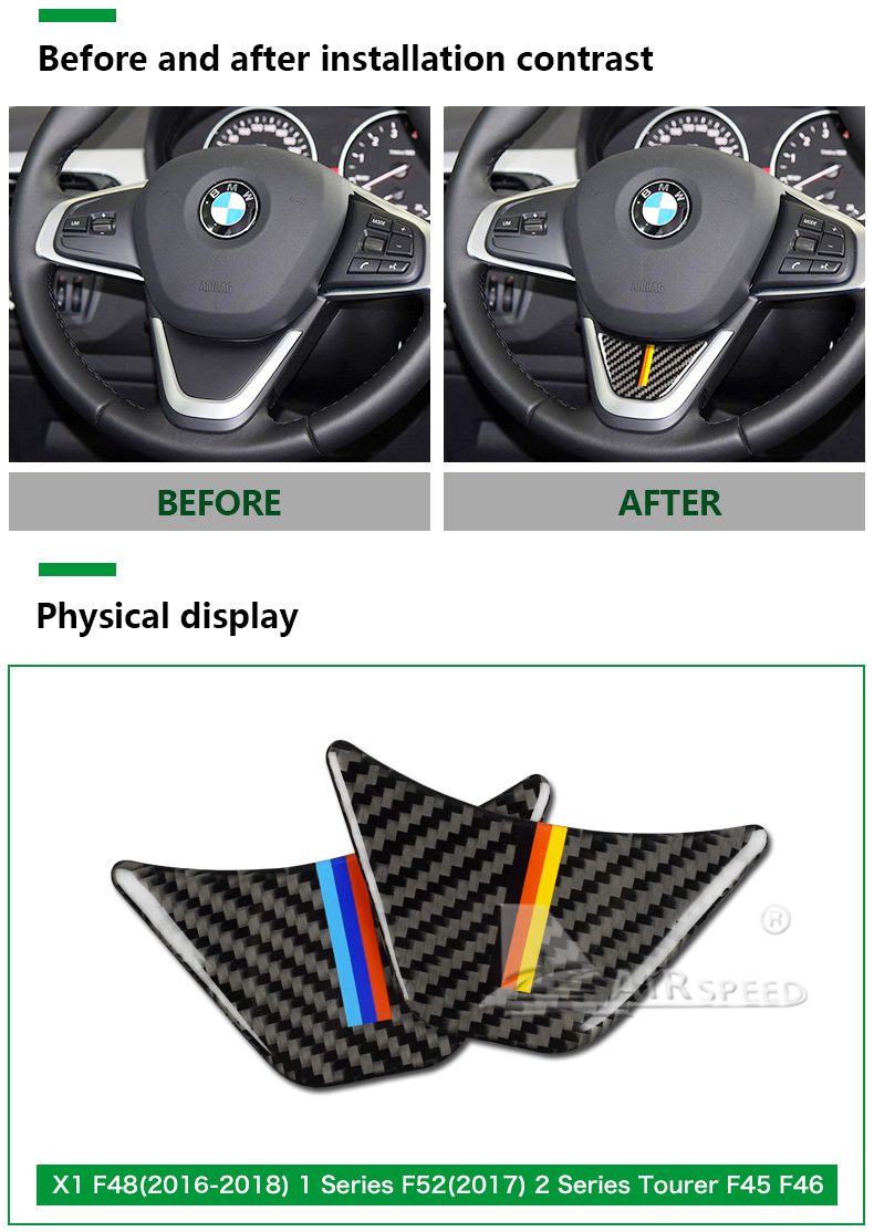 for BMW X1 F48 2016 Carbon Fiber Car Steering Wheel Stickers M Sport for 1 Series F52 F45 F46 Accessories Car Styling (3)