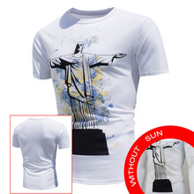 T shirt Men 2017 New Design Men's Tops Shirt Encounter Sun Change Color Short Sleeve Casual T-Shirt White S-XL Plus Size  May 23