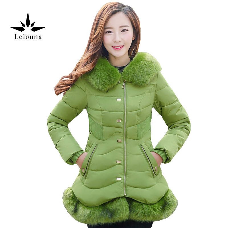 Leiouna Blue Medium Long Sleeve Hooded Warm Parkas Women Fur Collar Large Plus Size 3xl Cotton Jacket Casaco FemininoÎäåæäà è àêñåññóàðû<br><br>